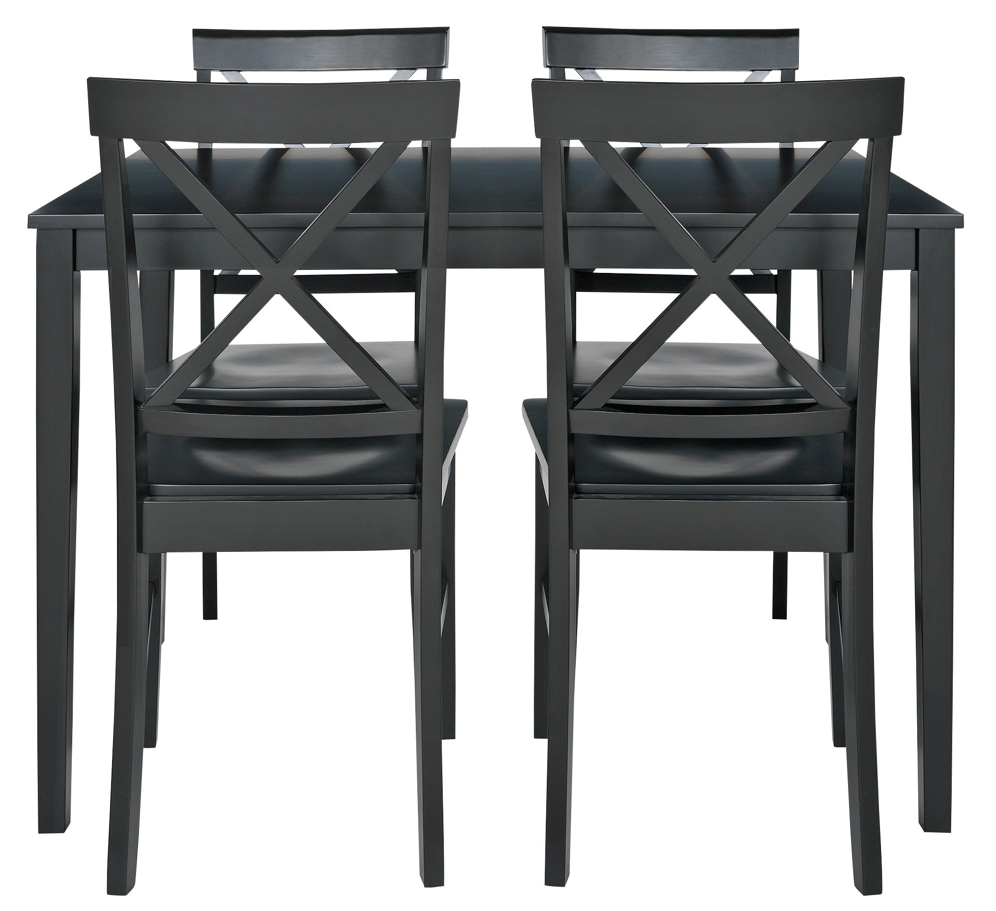 buy home jessie dining table & 4 solid wood chairs - black at