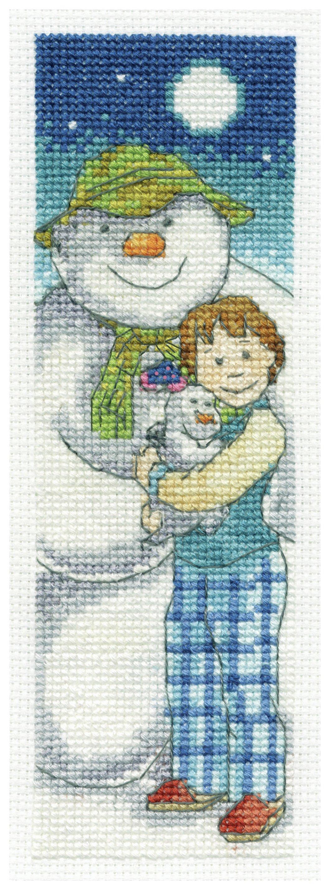 the-snowman-snowdog-moonlight-bookmark-cross-stitch-kit