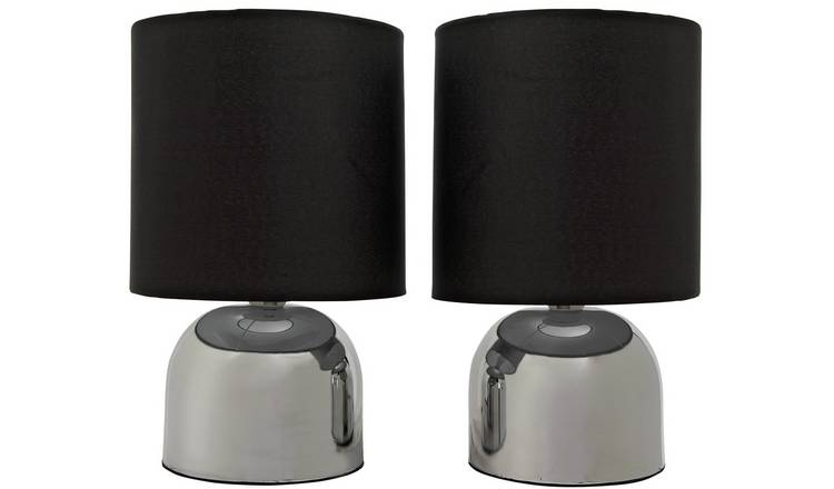Argos Home Pair of Touch Table Lamps - Jet Black and Chrome