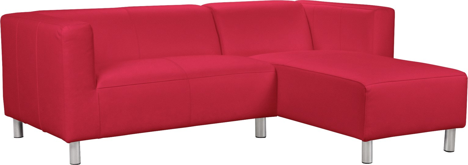 Argos Home Moda Compact Right Corner Faux Leather Sofa - Red
