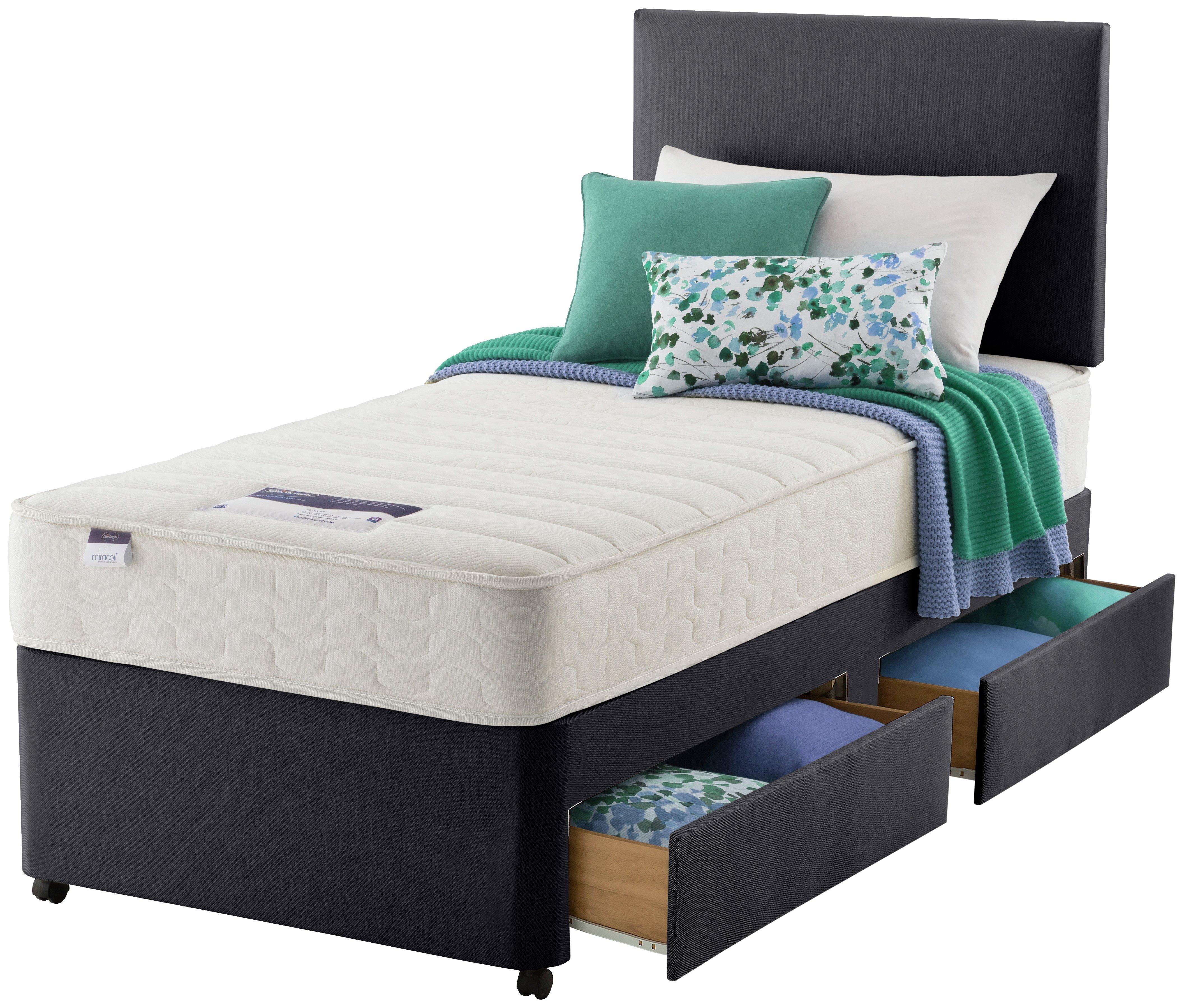 Silentnight northolt memory single 2 drw divan bed for Cheap 4 drawer divan beds