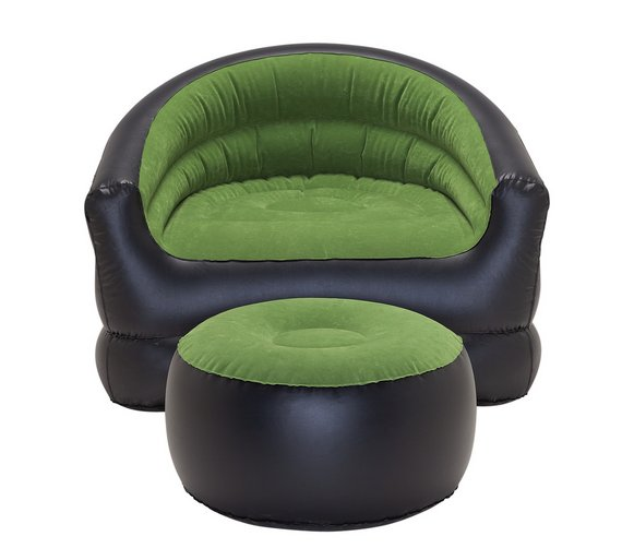 PVC Flocked Inflatable Camping Chair With Free Footstool460 7722