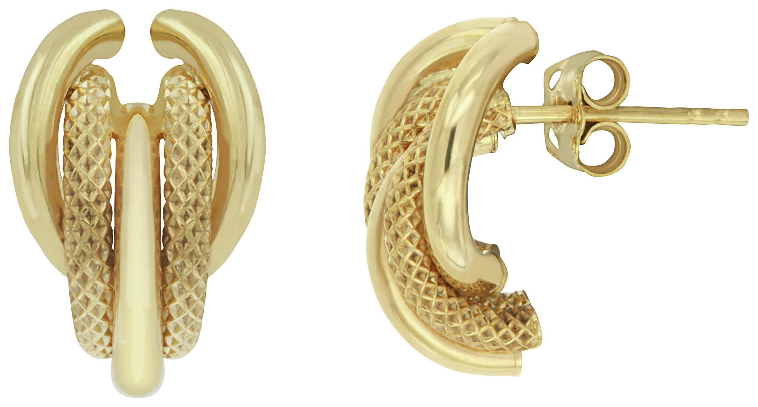 Image of Bracci - 9 Carat Gold - Textured - Stud Earrings.