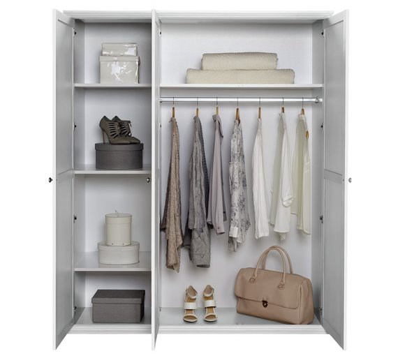 Buy home canterbury 3 door wardrobe white at your online shop for wardrobes Buy home furniture online uk