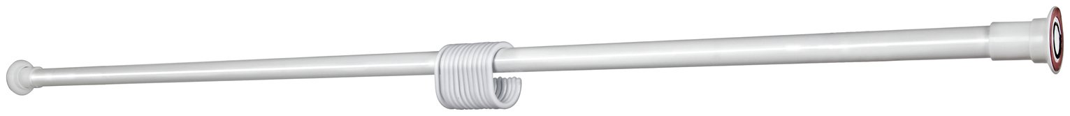 Croydex Stick 'n' Lock Ext Shower Rail & Rings - White