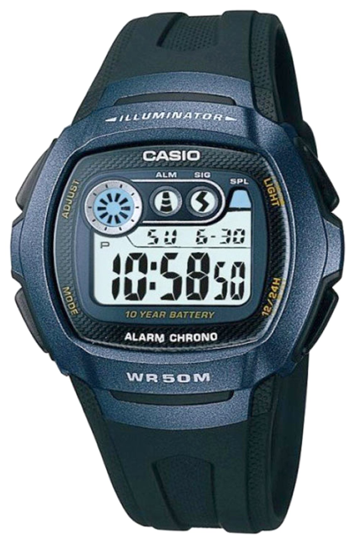 Casio - Mens LCD Digital Blue Case Black Strap - Watch