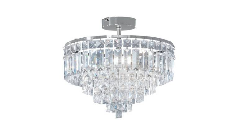 Argos Home Olivia 3 Light Ceiling Fitting - Clear / Chrome