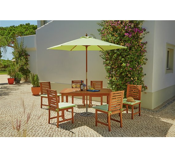collection madison 6 seater wooden patio set green