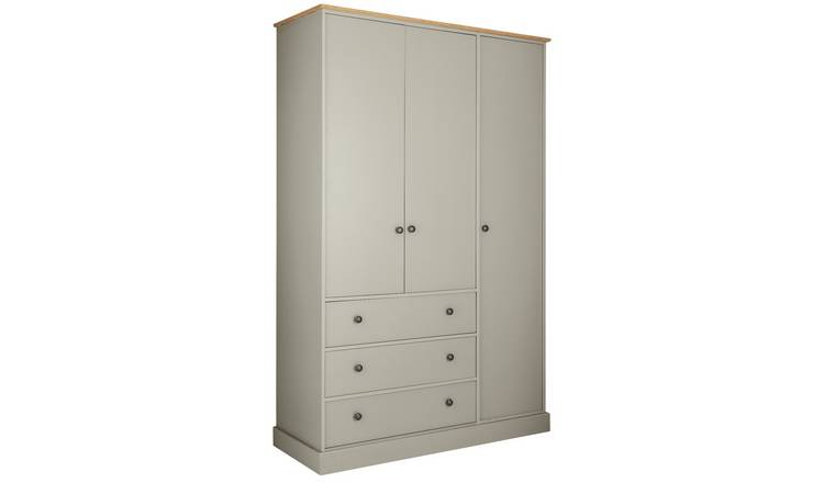 Argos Home Kensington 3Dr 3Drw Wardrobe - Soft Grey /Oak Eff