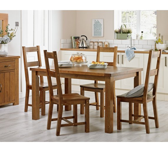 Pine Dining Room Sets: Buy Collection Arizona Solid Pine Dining Table & 4 Chairs