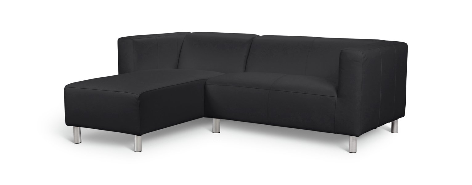 Argos Home Moda Compact Left Corner Faux Leather Sofa -Black