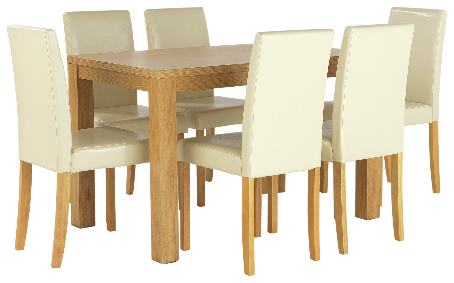 Buy HOME Pemberton Oak Veneer Dining Table 6 Chairs Cream at