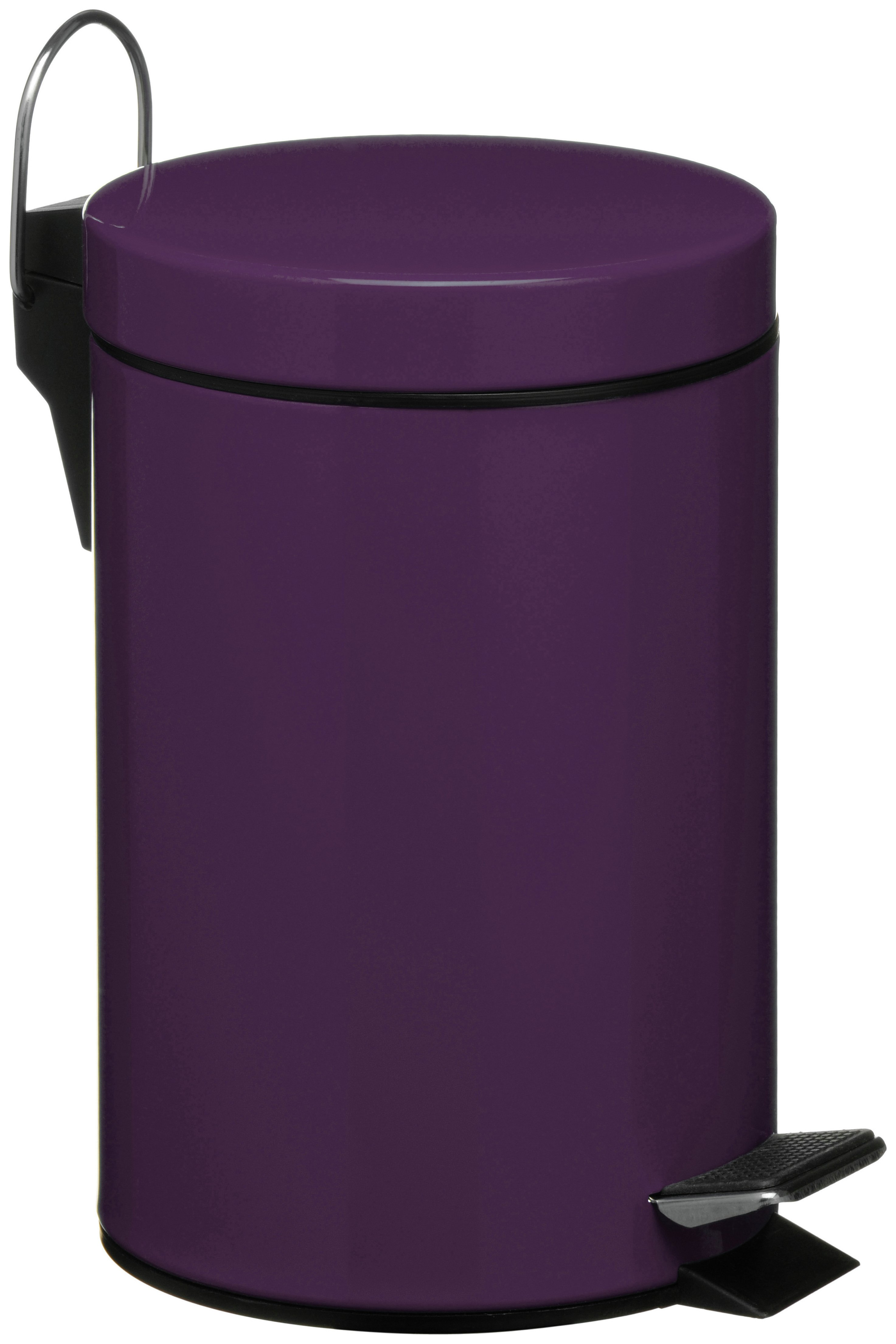 3 Litre Pedal Bin with Plastic Inner - Purple.