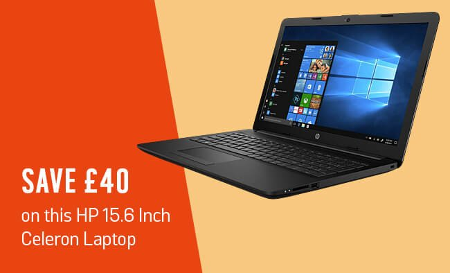 Save £40 on this HP 15.6 inch Celeron laptop.