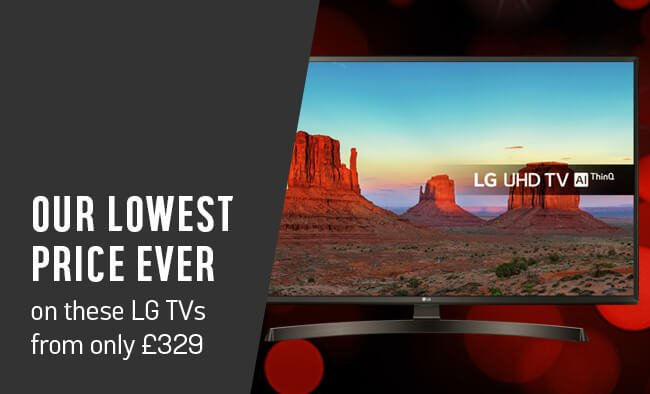 Our lowest price ever on these LG TVs from only £329.