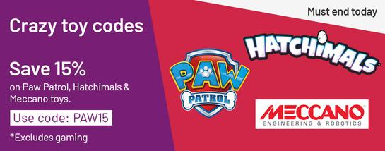 Save 15% on Paw Patrol, Hatchimals and Meccano toys with code PAW15. Excludes gaming - Must end today.