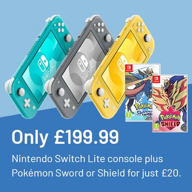 Only £199.99 Nintendo Switch lite console plus Pokémon Sword or Shield for just £20.