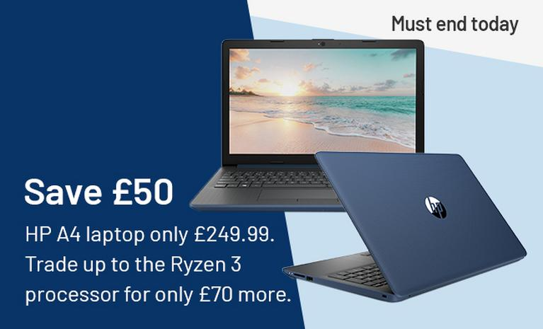 Save £50 HP A4 laptop only £249.99. Trade up to the Ryzen 3 processor for only £70 more. Must end today.