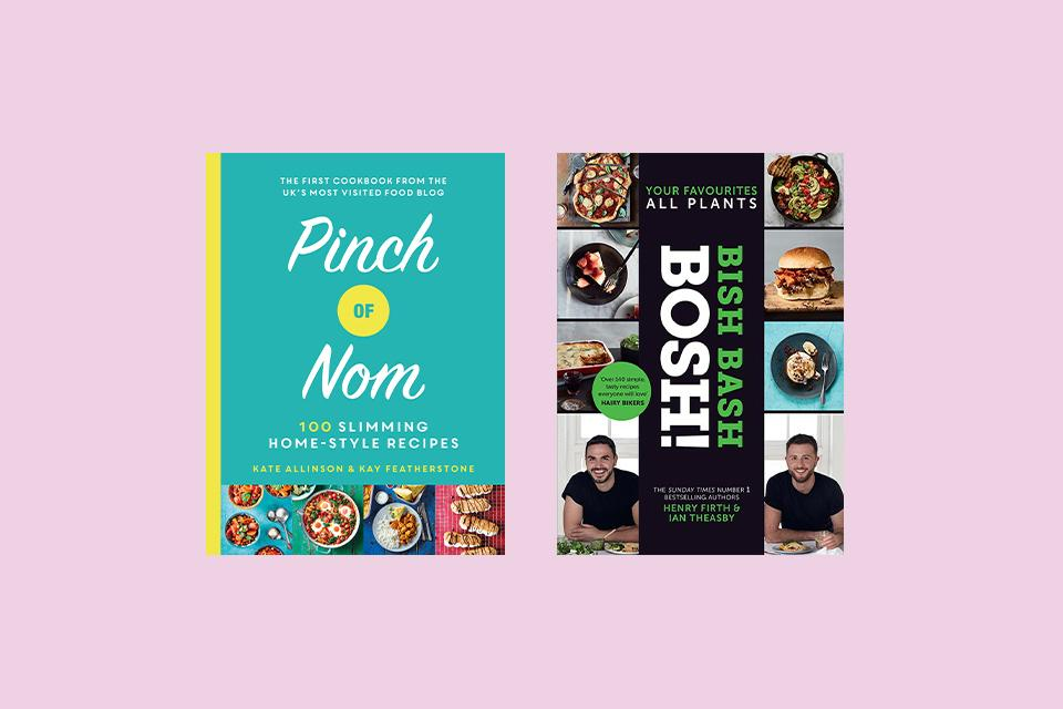 A Pinch of Nom and Bish Bash Bosh recipe books shown.