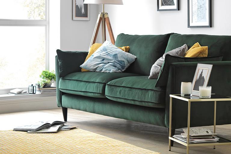 Habitat Hector 3 Seater Velvet Sofa - Green.