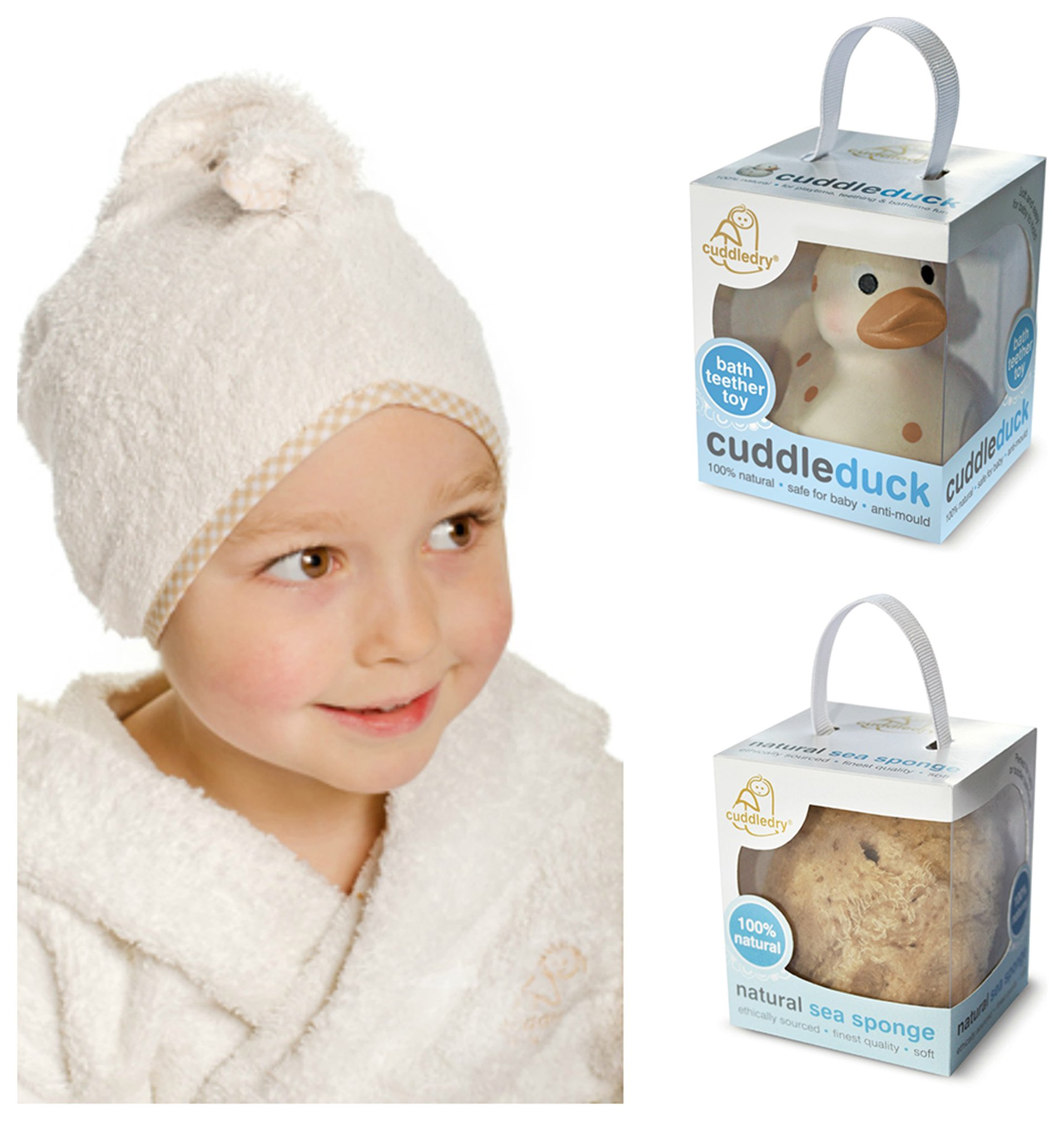 Image of Cuddledry Cuddletwist Hair Towel, Cuddleduck and Sponge Set.