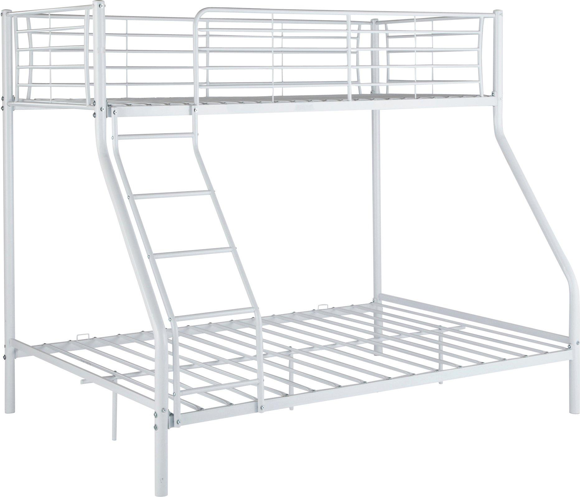 home metal triple bunk bed with elliott mattress. inspire sequin stripe  black duvet cover set kingsize