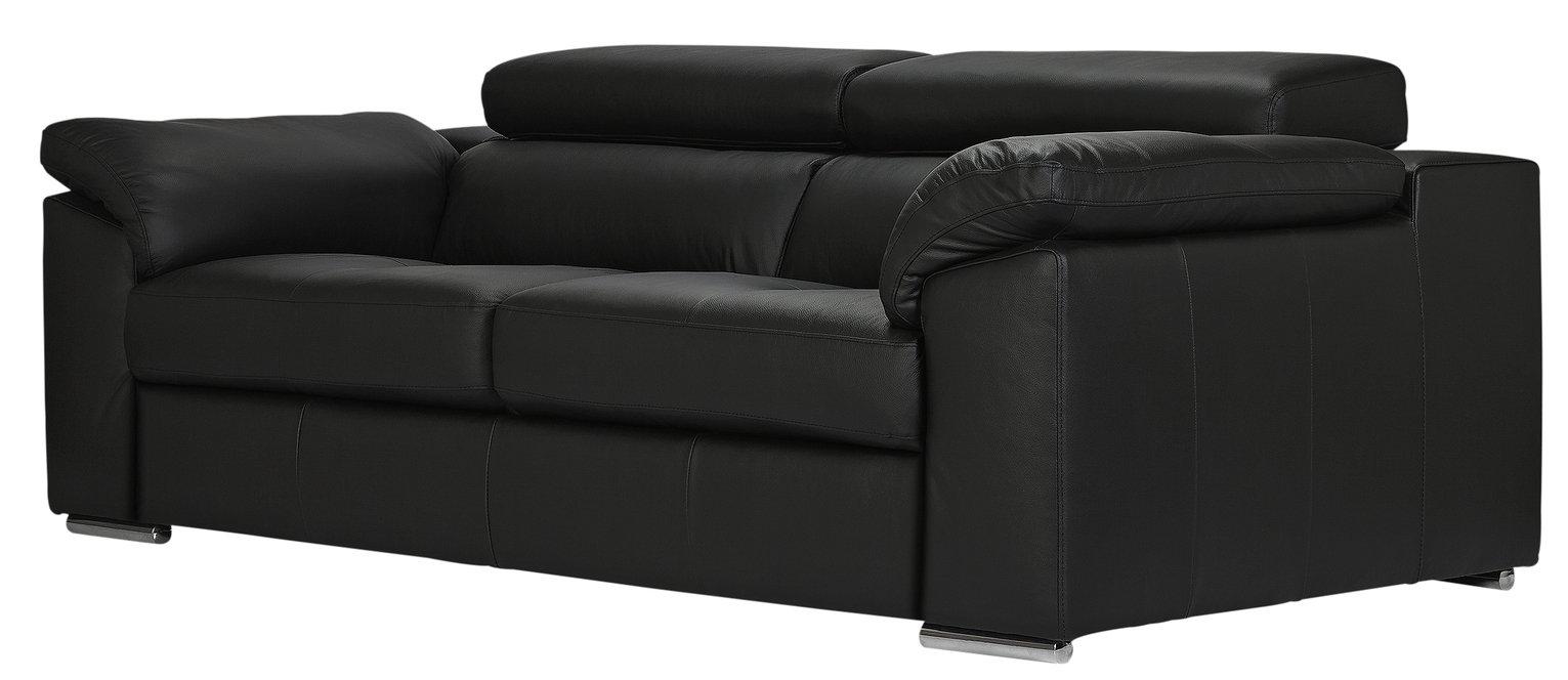Argos Home Valencia 3 Seater Leather Sofa - Black (4619370)   Argos ...
