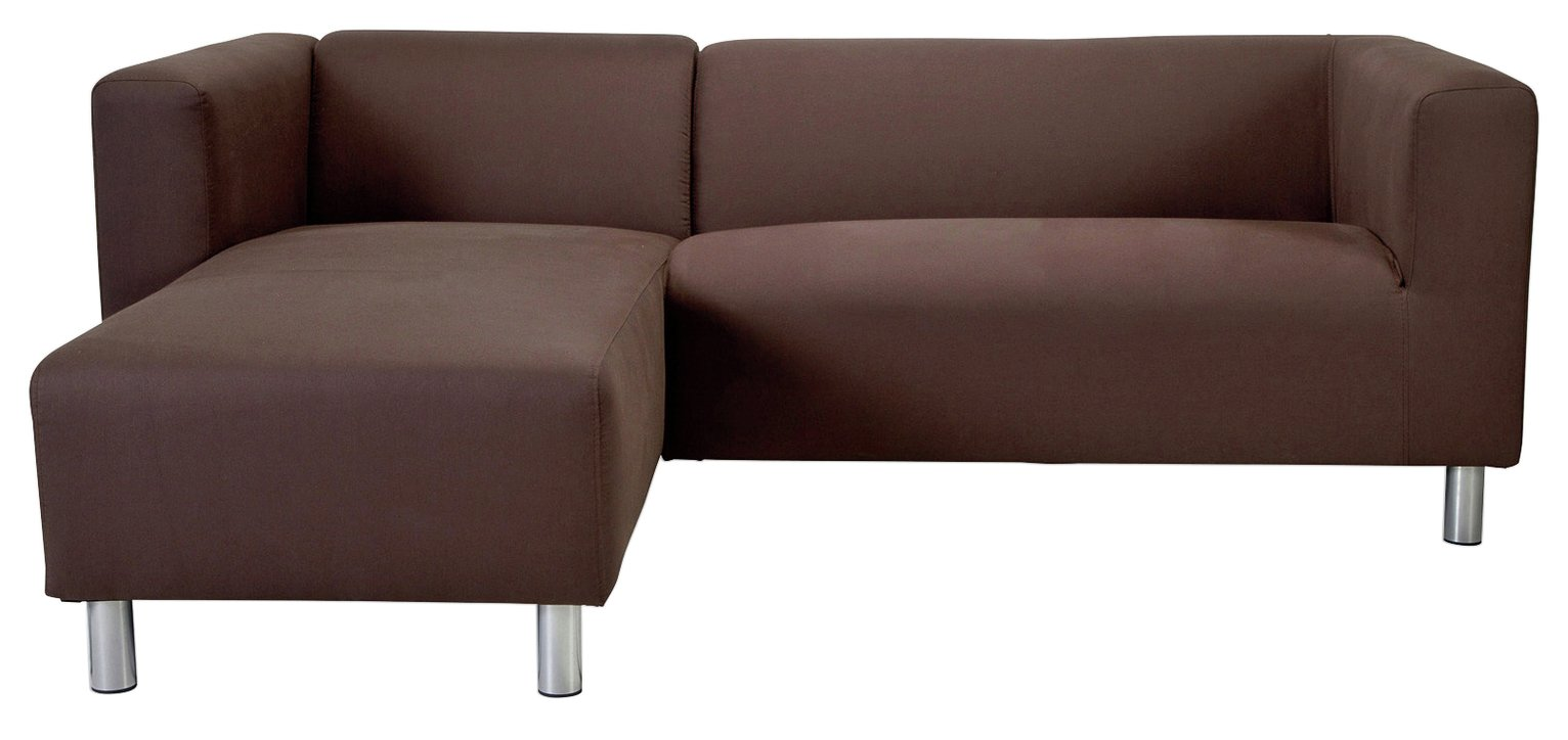 Argos Home Moda Left Corner Fabric Sofa - Chocolate