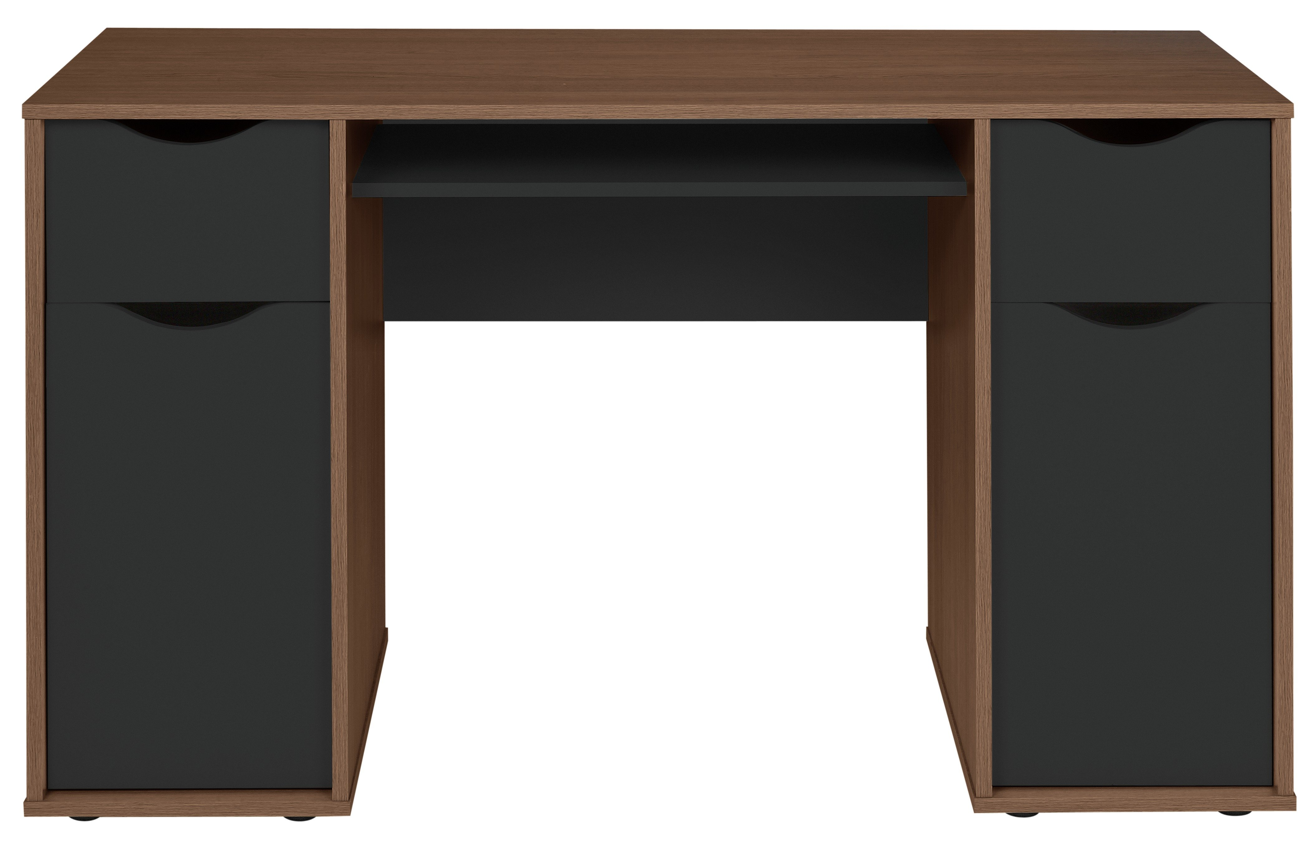 Argos Home Berkeley Pedestal Desk - Black & Walnut Effect