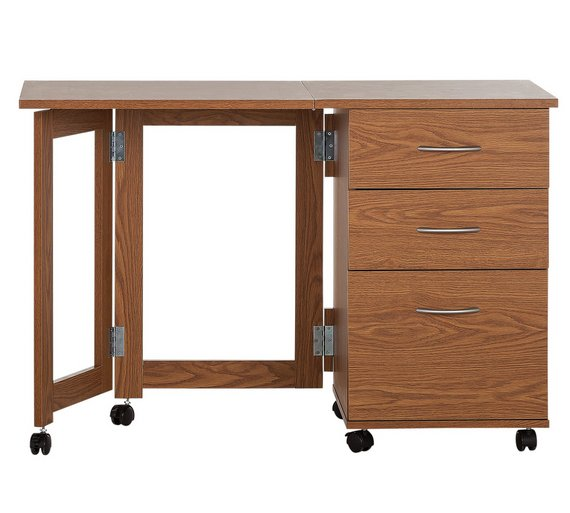 Buy HOME Dino 2 Drawer Space Saving Office Desk - Oak Effect at ...