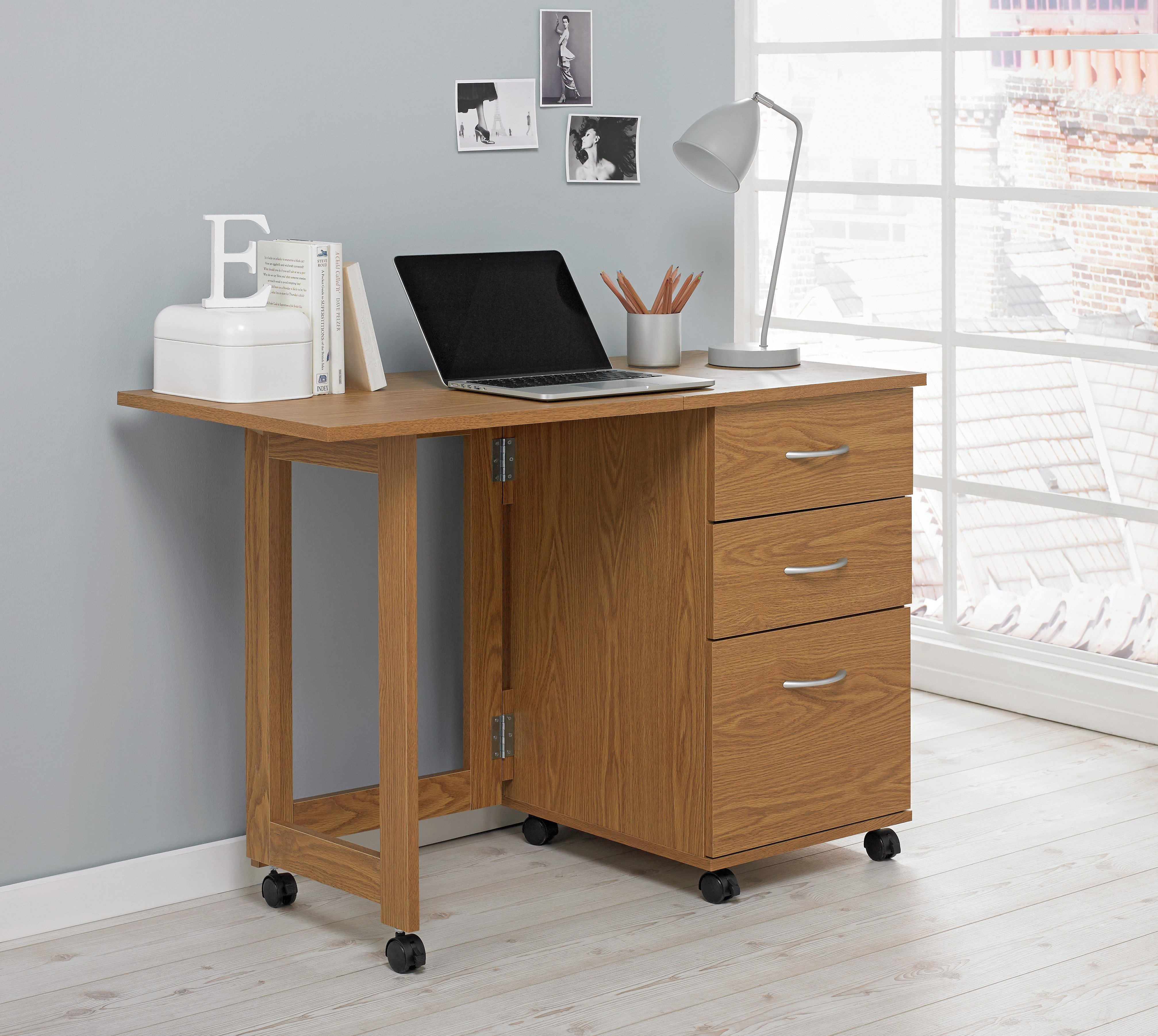 Buy HOME Dino 2 Drawer Space Saving Office Desk Oak Effect at