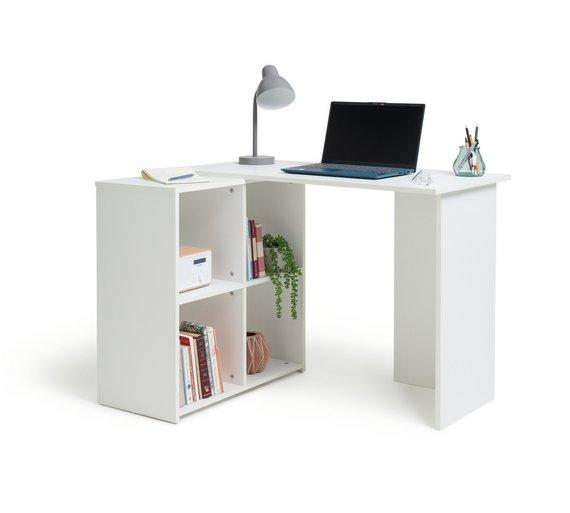buy home calgary corner desk white at your. Black Bedroom Furniture Sets. Home Design Ideas