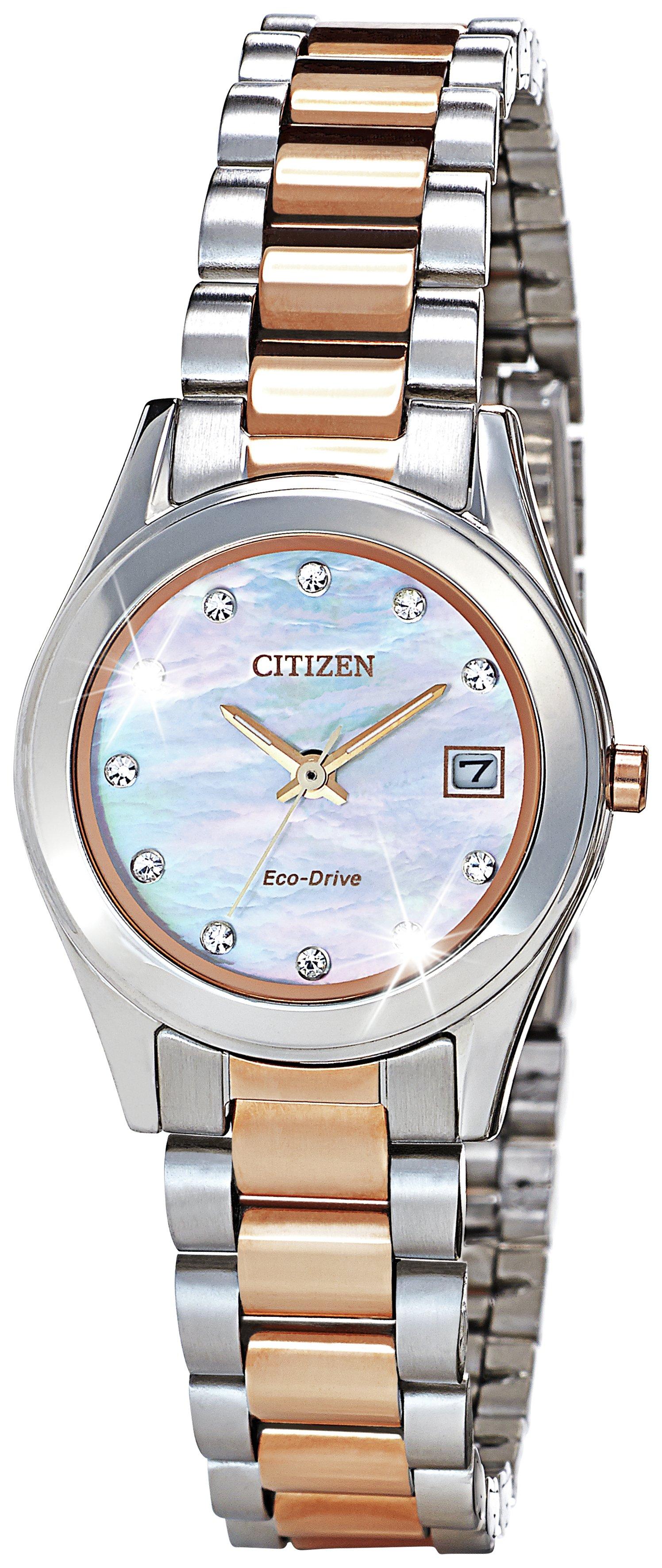 Citizen - Ladies Rose Gold Two Tone Eco Drive Bracelet - Watch