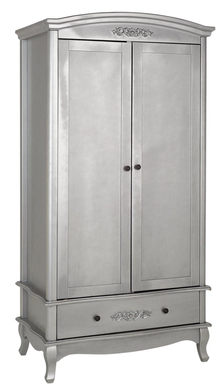Collection Sophia 2 Door 1 Drawer Wardrobe - Silver