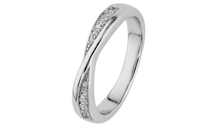 Revere Sterling Silver Crossover Half Eternity Ring - Q