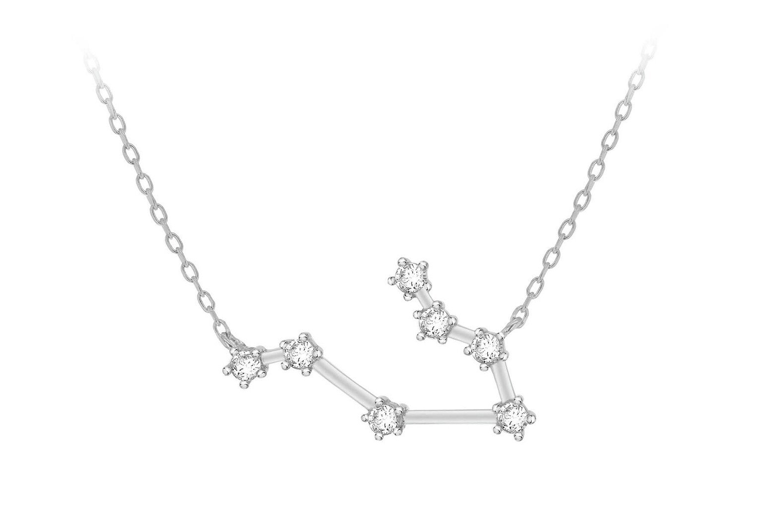 Sterling Silver Cubic Zirconia Star Sign Pendant - Gemini