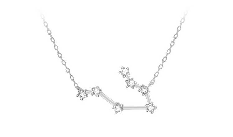 Sterling Silver Star Sign Pendant Necklace - Gemini