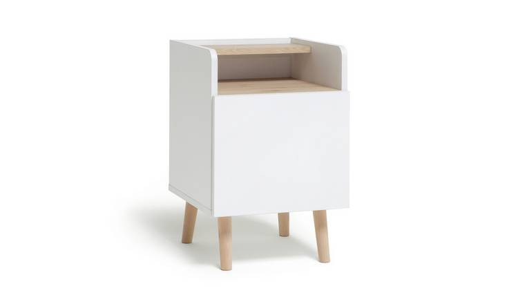 Habitat Skandi 1 Drawer Bedside Table - White Two Tone