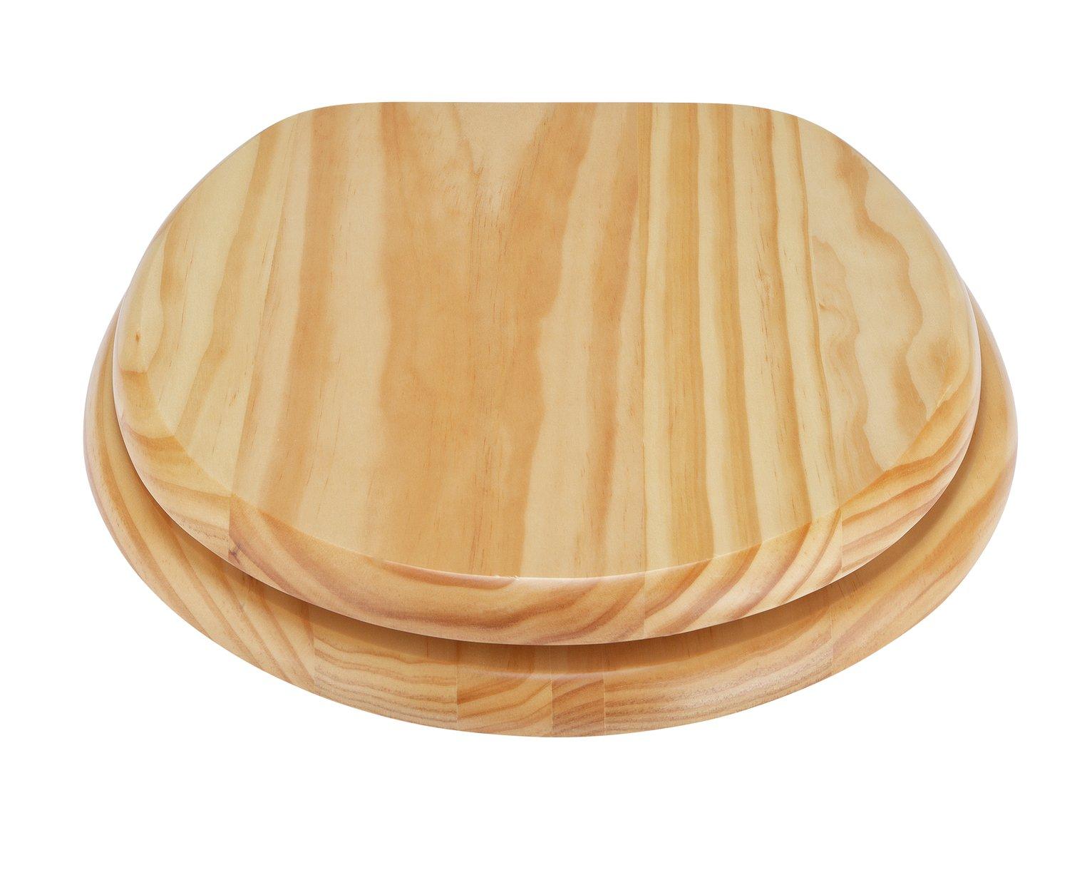 Soft Close Solid Oak Toilet Seat New