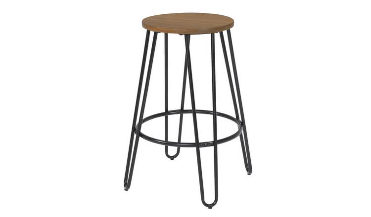 Argos Home Klark Hairpin Wooden Bar Stool - Black