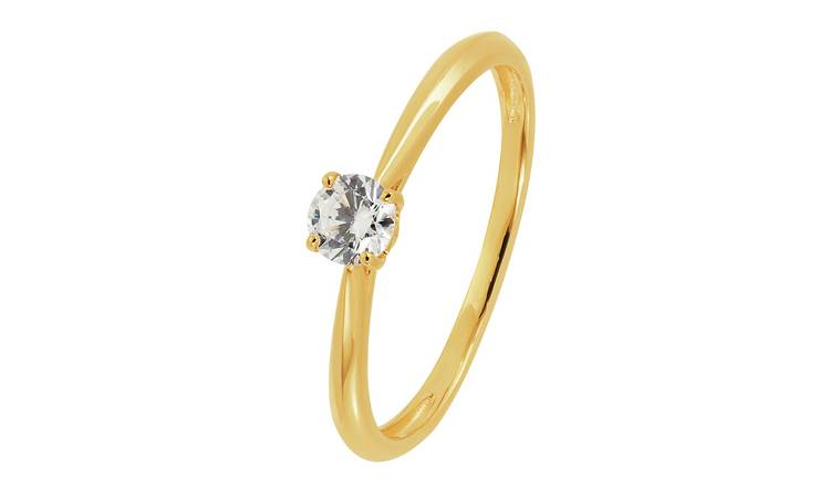 Revere 9ct Gold 4mm Solitaire Cubic Zirconia Ring - L