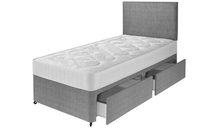 Argos Home Elmdon Single Comfort 2 Drawer Divan Bed - Grey