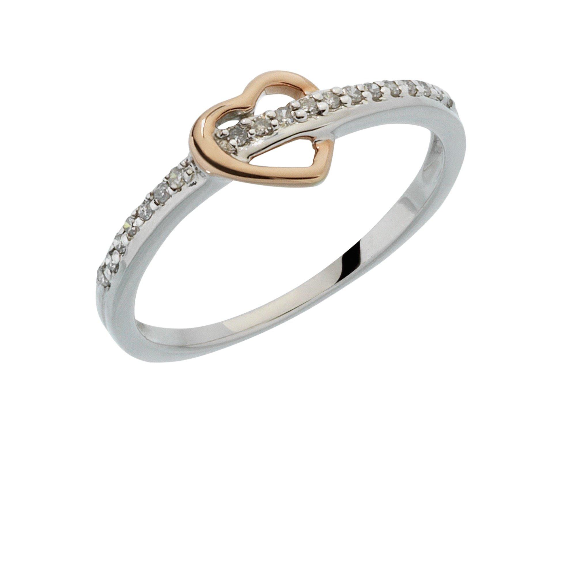 Buy 9ct White Gold 0 10ct tw Diamond Rose Gold Heart Ring at Argos