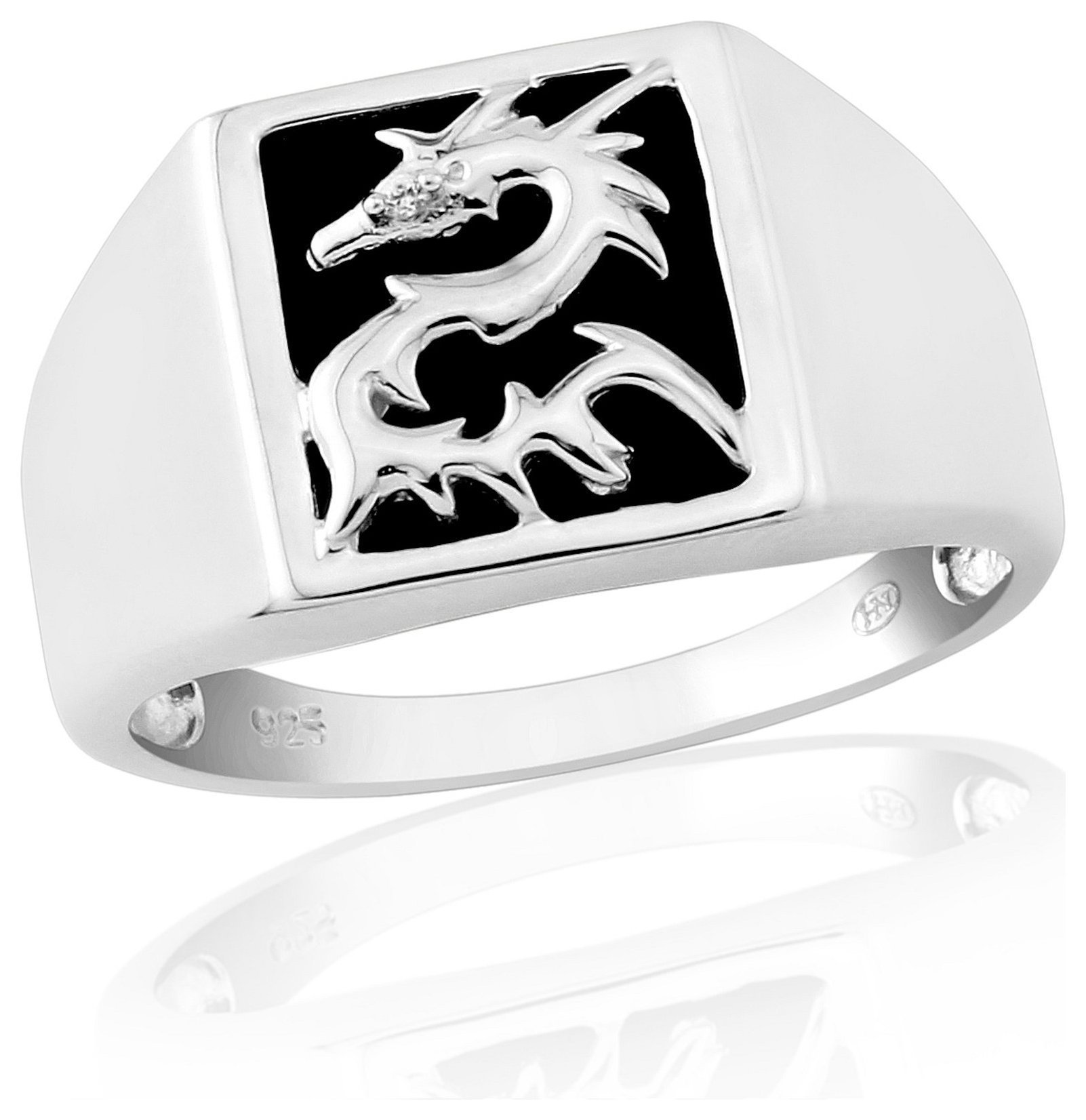 Buy Sterling Silver Black yx CZ Dragon Signet Ring R at Argos