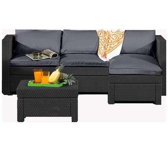 Keter Rattan Effect Outdoor Mini Corner Sofa - Graphite464/4754