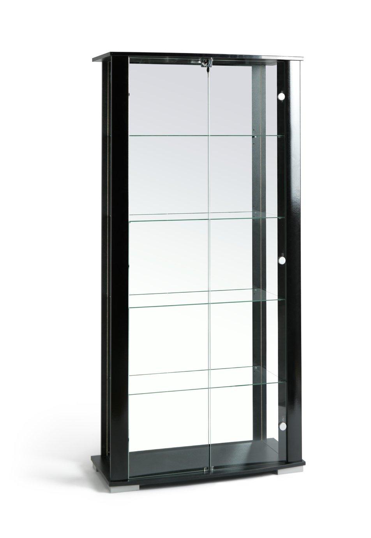 Home Stella 2 Door Glass Display Cabinet Black Gloss
