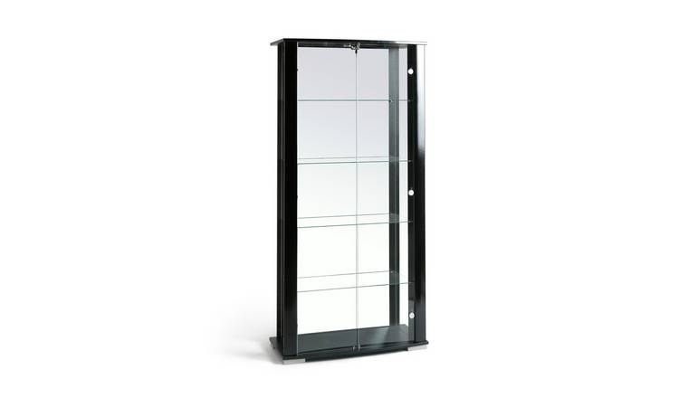 Habitat Stella 2 Glass Door Display Cabinet - Black Gloss