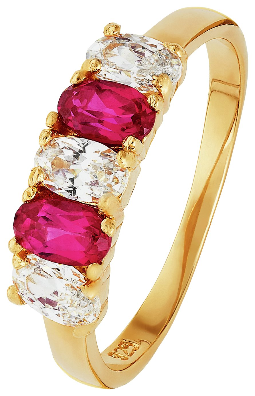 18 Carat Gold - Plated SSilver Synthetic Ruby CZ Eternity Ring