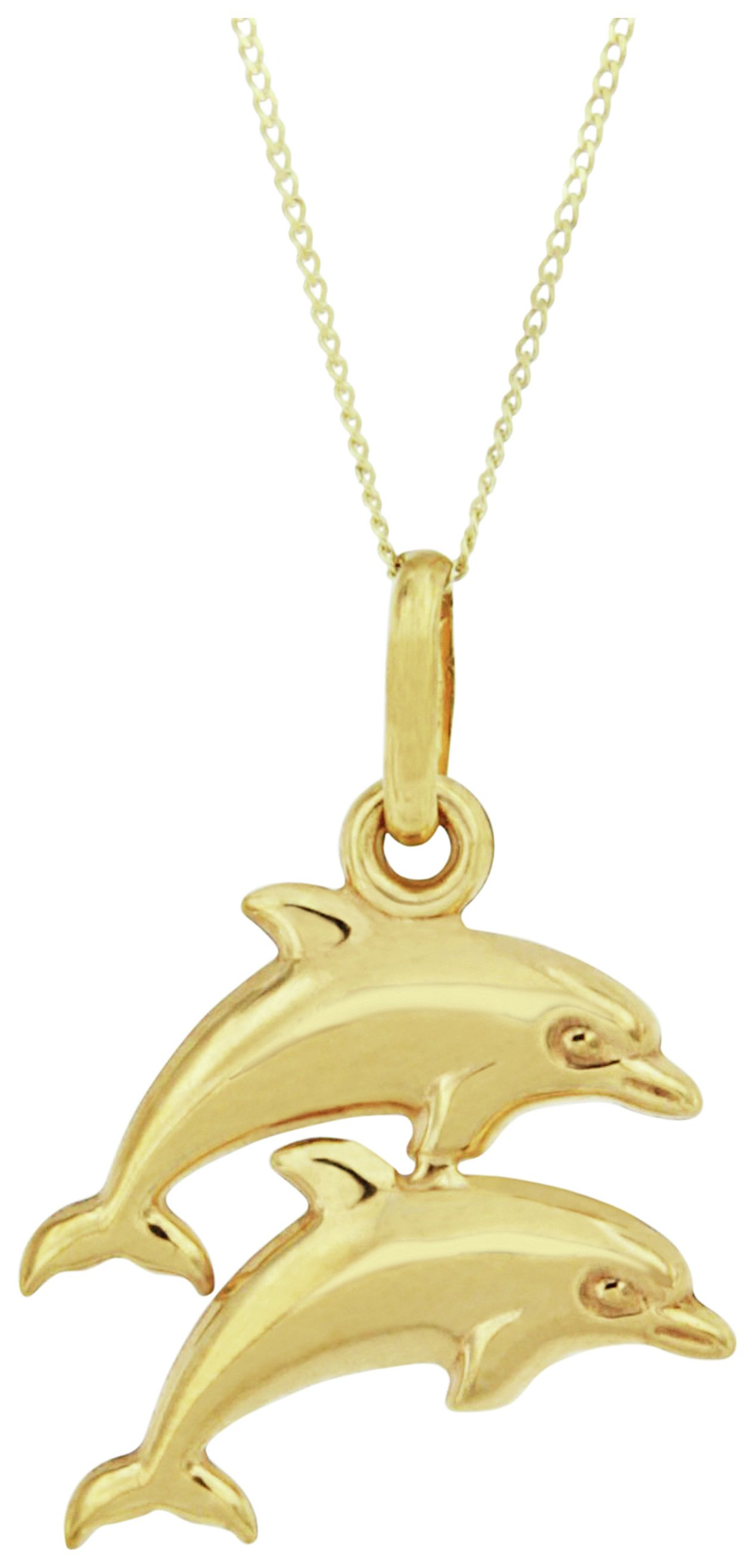 Image of Bracci - 9 Carat Gold - Double Dolphin Solid Look Pendant Necklace.
