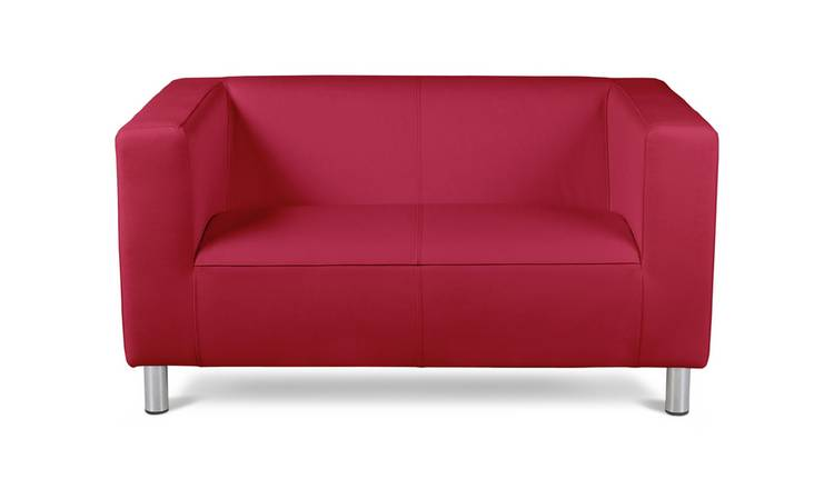 Habitat Moda Compact 2 Seater Faux Leather Sofa - Red